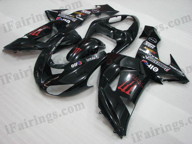2006 2007 Kawasaki ZX10R black monster fairing kits.