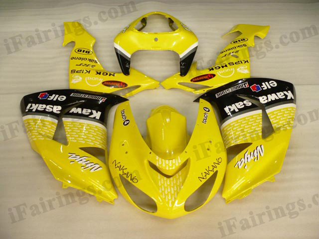 2006 2007 ZX10R lemon yellow NAKANO fairing kits