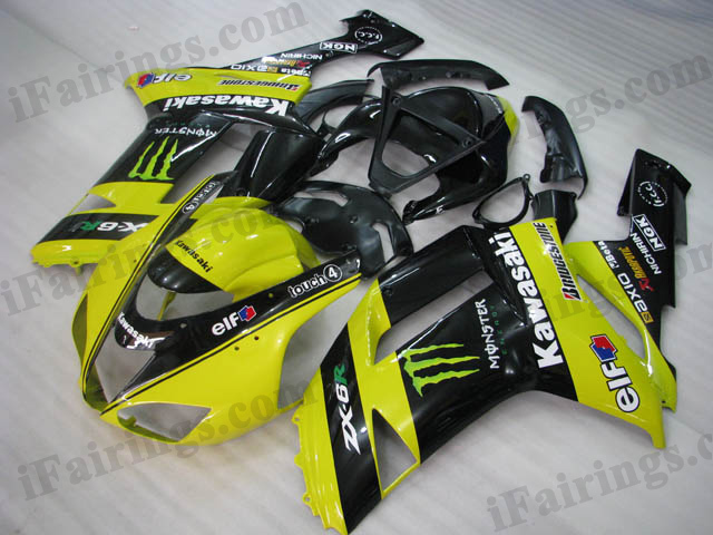 2007 2008 Kawasaki ZX6R Ninja yellow/black monster scheme fairing kits.