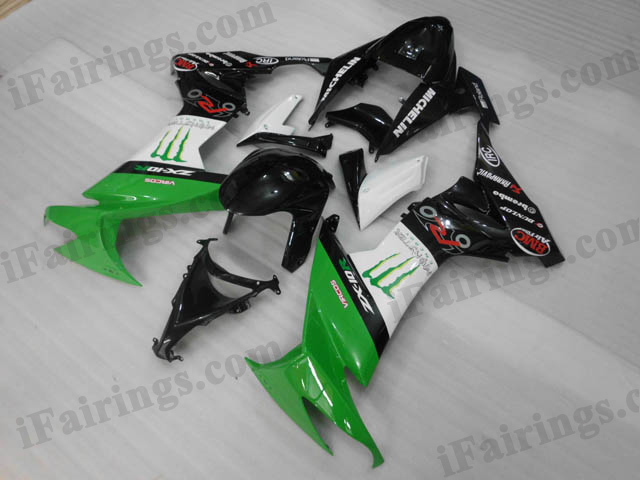 2008 2009 2010 Kawasaki ZX10R green, white and black fairing kits.