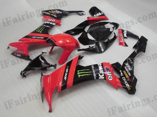 2008 2009 2010 Kawasaki ZX10R red and black monster fairing kits.