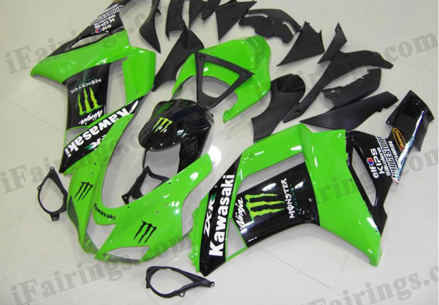 2007 2008 ZX6R 636 green monster fairing kits