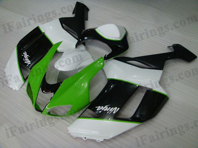2007 2008 ZX6R 636 green,white and black fairing kits