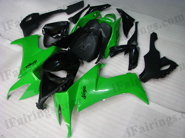2008 2009 2010 Kawasaki ZX10R green and black fairing kits.