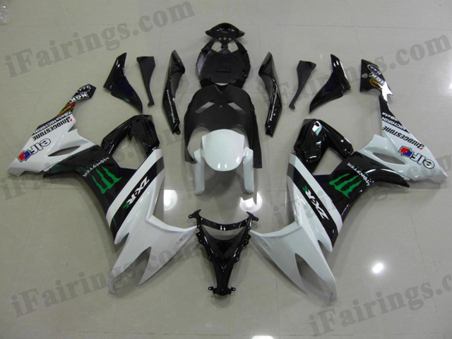 2008 2009 2010 ZX10R white monster fairing kits