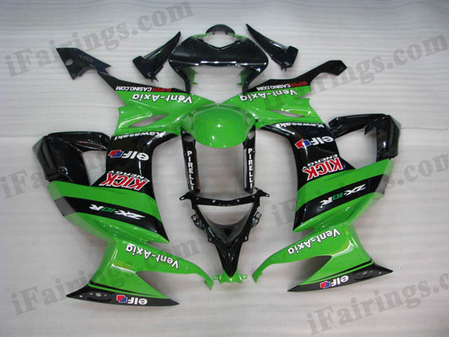 2008 2009 2010 Kawasaki ZX10R green and black fairings.