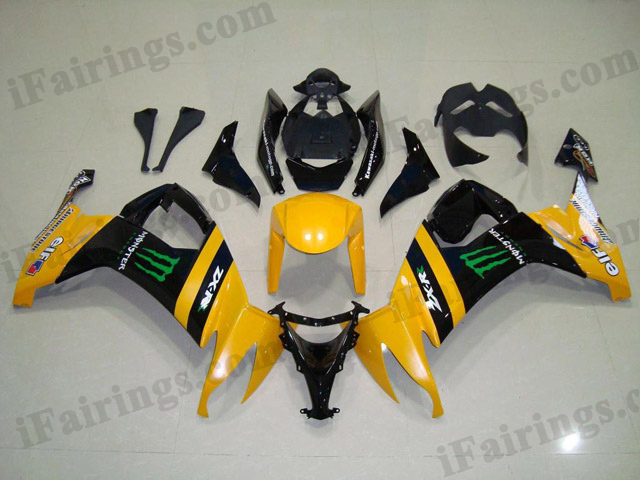 2008 2009 2010 ZX10R yellow/black monster fairings