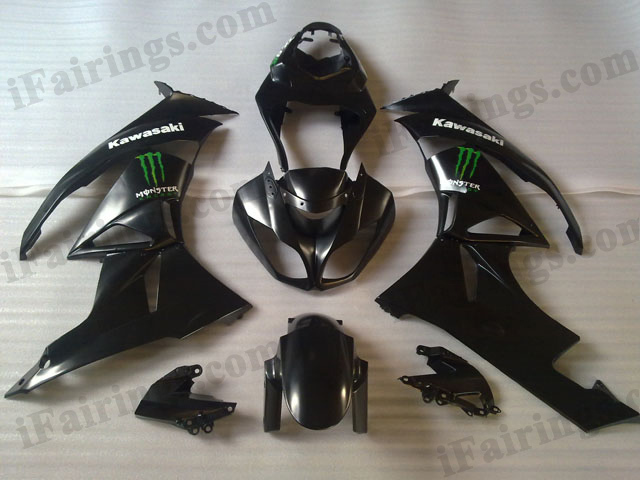 2009 2010 2011 2012 Kawasaki ZX6R ZX636 Ninja black with monster logo fairings.
