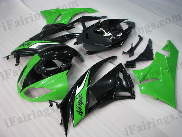 2009 2010 2011 2012 Kawasaki ZX6R ZX636 Ninja green and black fairing kits.