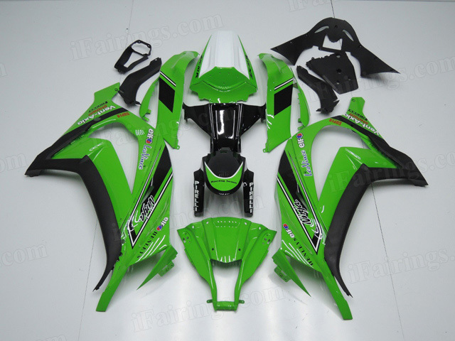 2011 to 2015 Kawasaki Ninja ZX10R green and black fairing kits.