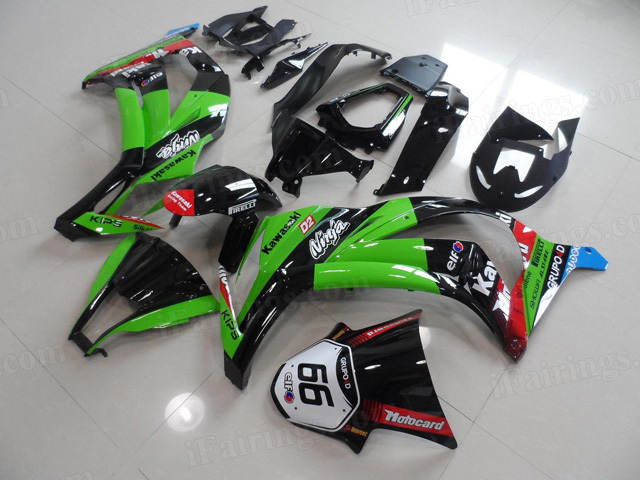 2011 to 2015 Kawasaki Ninja ZX10R green and black fairings.