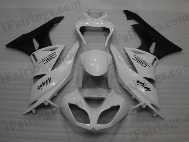 2009 2010 2011 2012 Kawasaki ZX6R ZX636 Ninja white and black fairing sets.