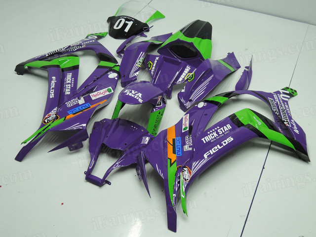 2011 to 2015 Kawasaki Ninja ZX10R purple and green fairing kit.