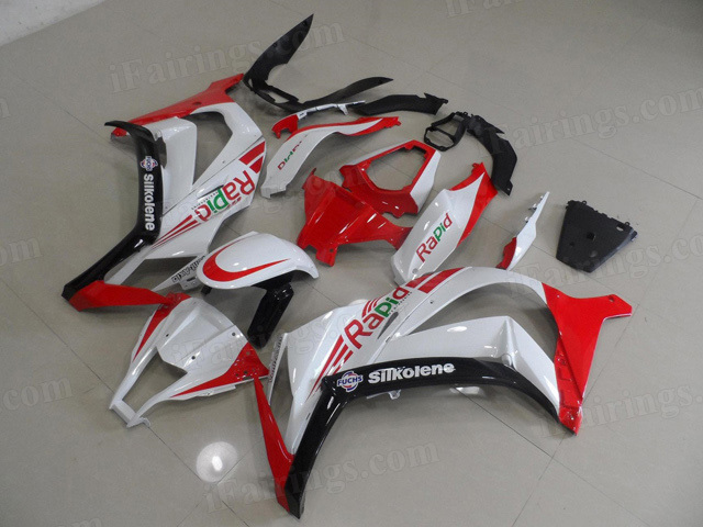 2011 to 2015 Kawasaki Ninja ZX10R white and red fairings.