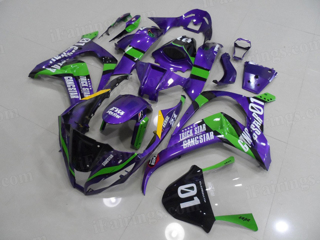 2011 to 2015 Kawasaki Ninja ZX10R purple and green fairings.
