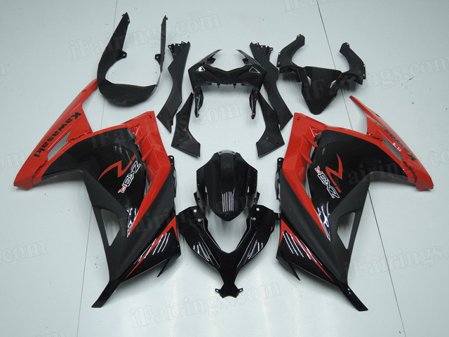 2013 2014 2015 Kawasaki Ninja 300 black and red fairing kits.