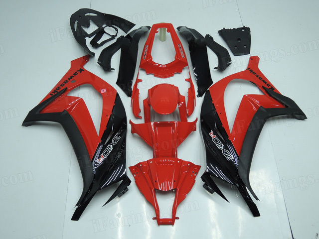 2011 to 2015 Kawasaki Ninja ZX10R red and black fairings.