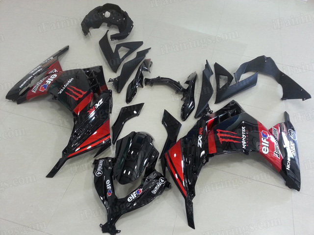2013 2014 2015 Kawasaki Ninja 300 black and red monster graphic fairings.
