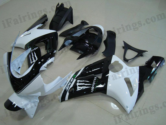 aftermarket fairings for 2003 2004 ZX6R Ninja white/black monster decals.