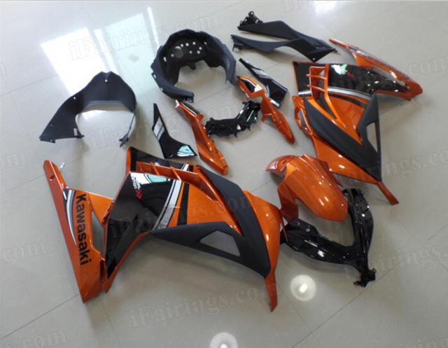 2013 2014 2015 Kawasaki Ninja 300 gold orange and black fairing kits.