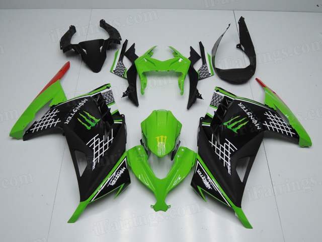 2013 2014 2015 Kawasaki Ninja 300 green and black fairings with monster symbol.