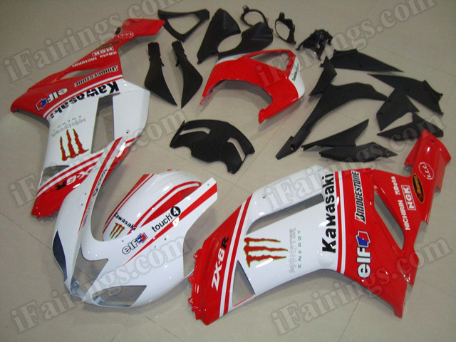 Custom fairing kits for Kawasaki ZX6R Ninja 636 2007 2008 red and white with monster logos.