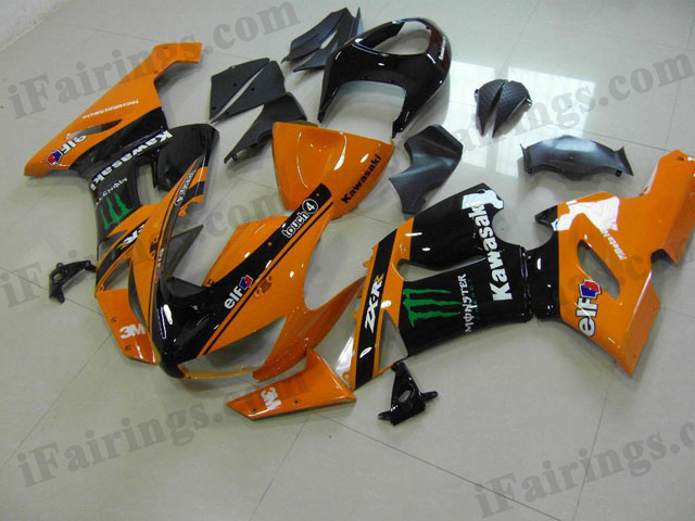 aftermarket fairings for 2005 2006 ZX6R Ninja orange/black Monster graphics.