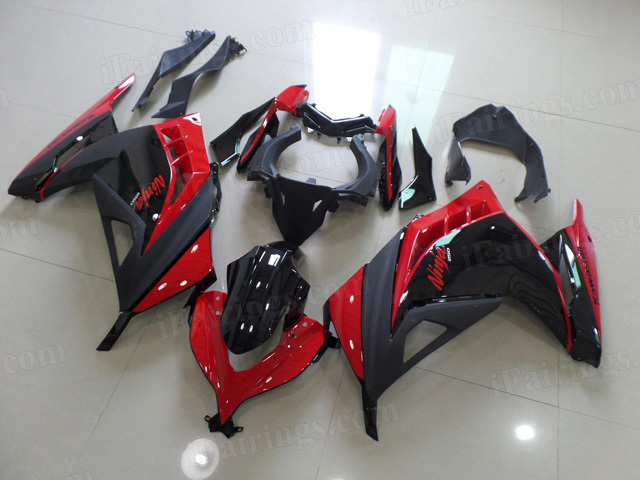2013 2014 2015 Kawasaki Ninja 300 red and black fairing kits.