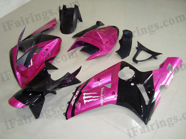 Custom fairings for 2003 2004 ZX6R Ninja pink/black monster decals.