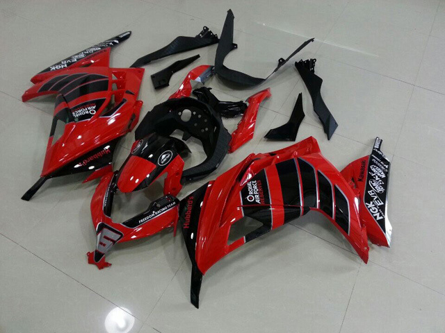 2013 2014 2015 Kawasaki Ninja 300 red and black scheme fairings.