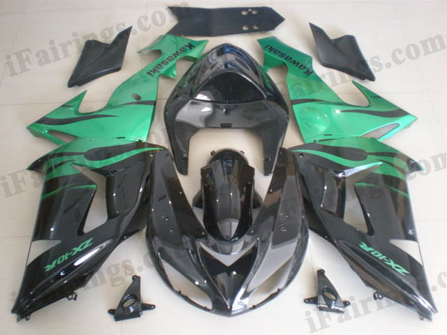 Custom fairings for 2006 2007 ZX10R metal green/black graphics.
