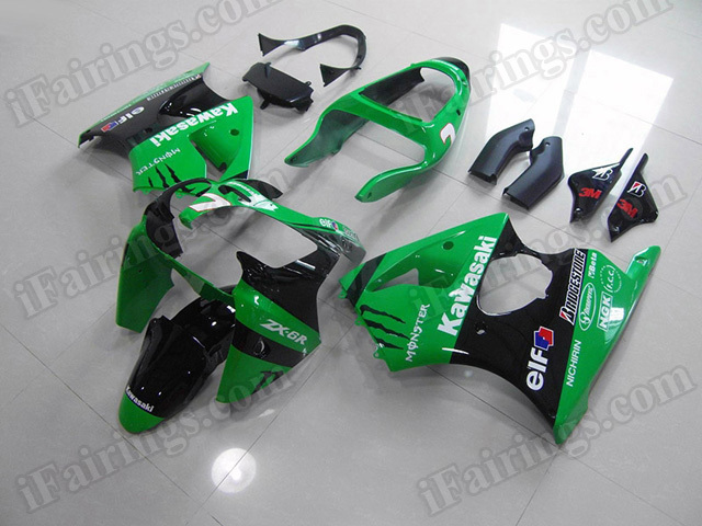 aftermarket fairings for Kawasaki Ninja ZX6R 2000 2001 2002 green and black Monster.