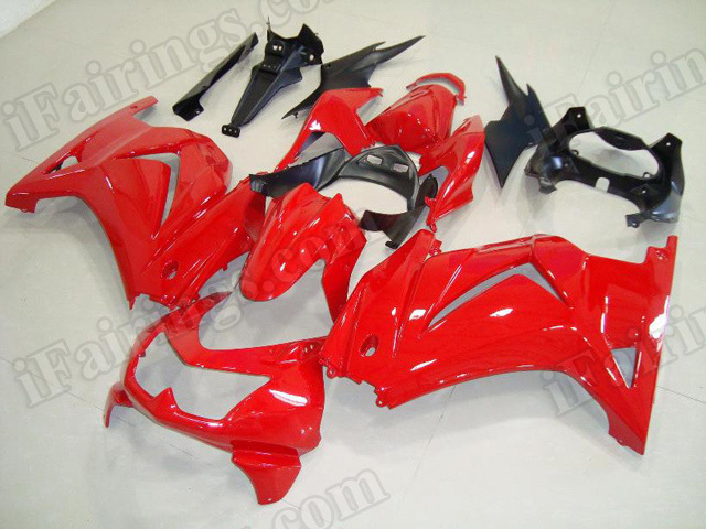 Injection molded fairing kits for Kawasaki Ninja 250R EX250 2008 to 2012 in red color.