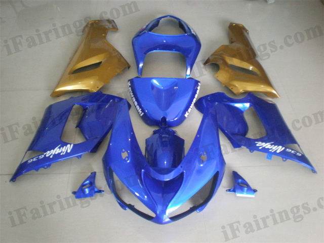 Custom fairings for Ninja 2005 2006 ZX6R blue/gold graphics.