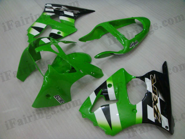 Aftermarket fairings for Kawasaki Ninja ZX6R 2000 2001 2002 green and black scheme.