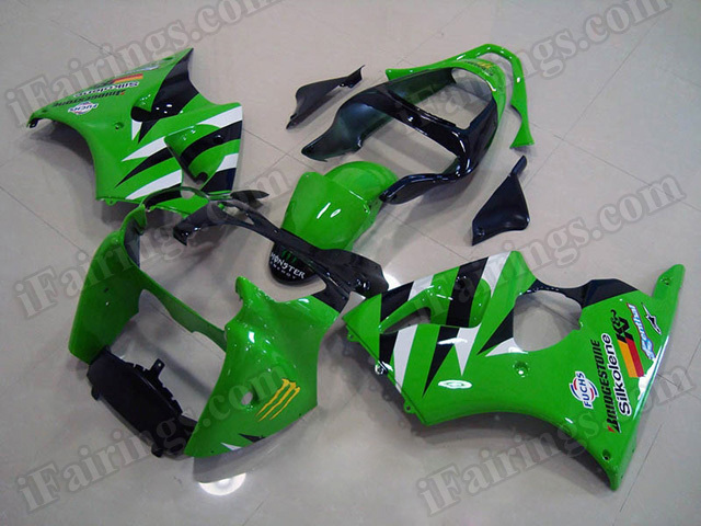 aftermarket fairings for Kawasaki Ninja ZX6R 2000 2001 2002 green and black.