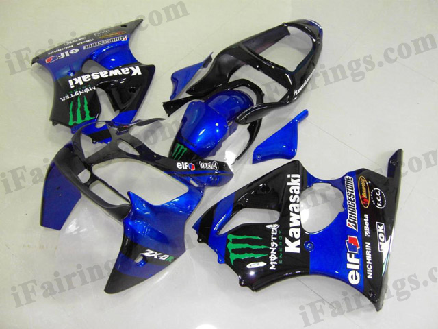 Motorcycle bodywork for Kawasaki Ninja ZX6R 2000 2001 2002 blue/black monster.