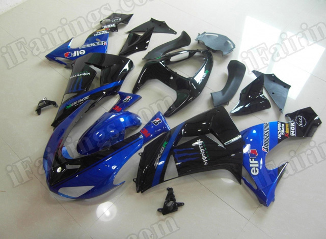 Motorcycle fairings for 2006 2007 Kawasaki Ninja ZX10R blue and black monster replica.