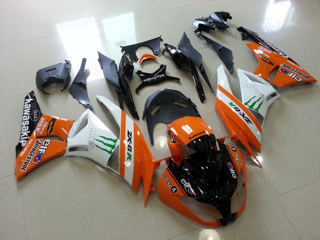 Motorcycle fairings for Kawasaki 2009 2010 2011 2012 Ninja ZX6R orange/white monster.