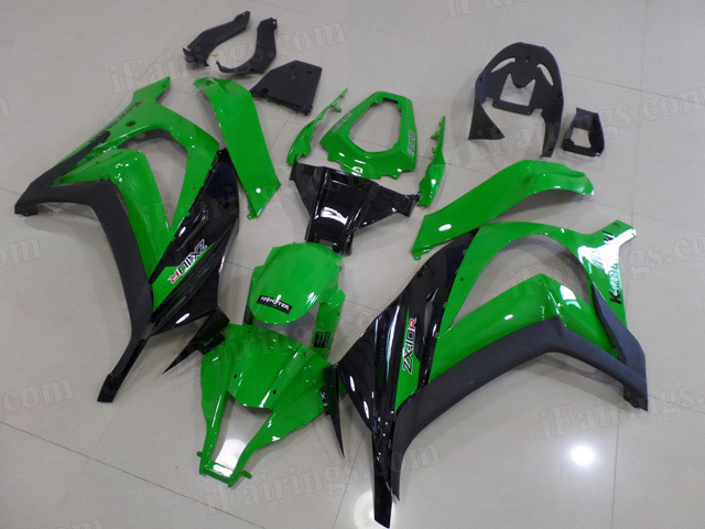 Motorcycle fairings for 2011 to 2015 Kawasaki Ninja ZX10R green/black scheme.