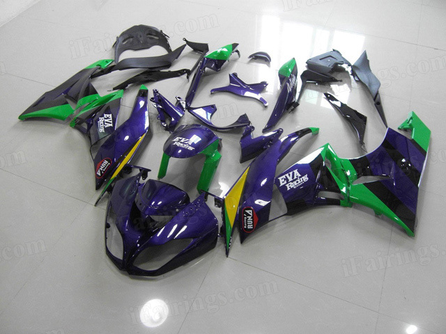 Motorcycle fairings for Kawasaki 2009 2010 2011 2012 Ninja ZX6R purple/green graphic.