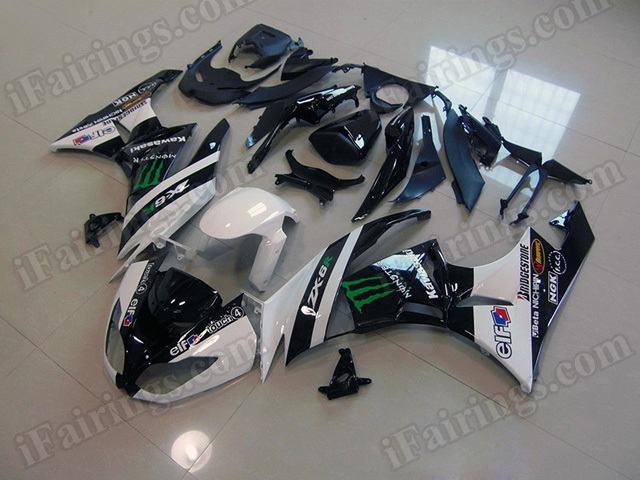 Motorcycle fairings for Kawasaki 2009 2010 2011 2012 Ninja ZX6R white and black monster.