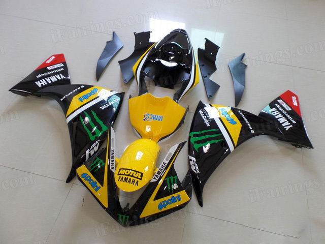 Motorcycle fairings for Kawasaki 2009 2010 2011 2012 Ninja ZX6R yellow/black monster.