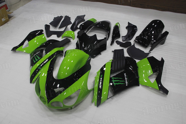 Motorcycle fairings for Kawasaki Ninja ZX14R 2006 to 2011 green/black fairings with monster symbol..