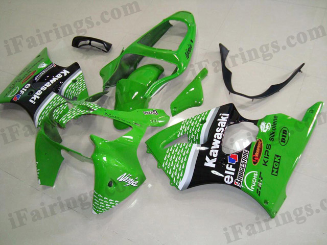 Motorcycle fairings for Kawasaki Ninja ZX6R 2000 2001 2002 green and black nakano.