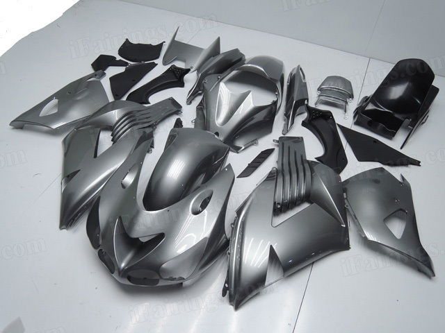 Motorcycle fairings for Kawasaki Ninja ZX14R 2006 to 2011 grey color fairings.
