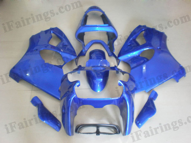 Motorcycle fairings for Kawasaki Ninja ZX6R 2000 2001 2002 all blue.