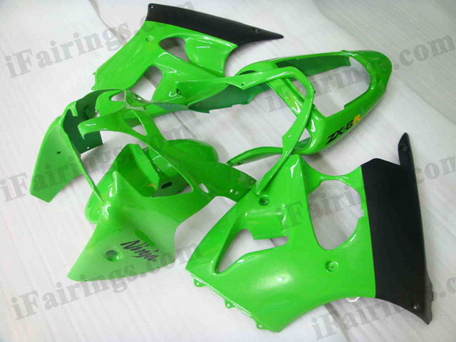 Motorcycle fairings for Kawasaki Ninja ZX6R 2000 2001 2002 green/black scheme.