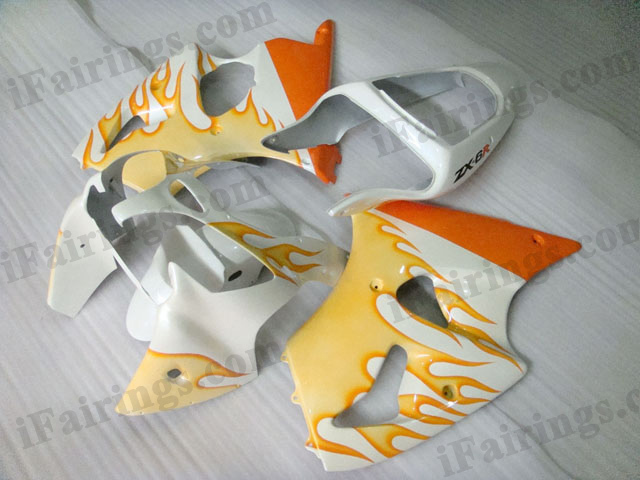 Motorcycle fairings for Kawasaki Ninja ZX6R 2000 2001 2002 white and orange flame.