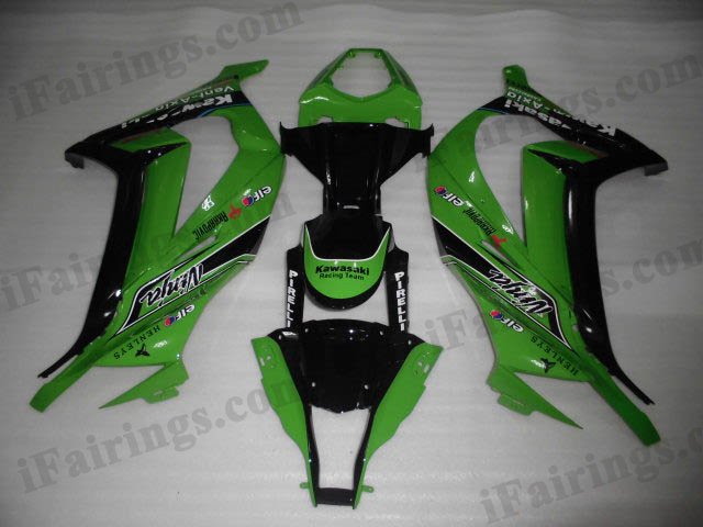 Motorcycle fairings/bodywork for 2011 to 2015 Kawasaki Ninja ZX10R green and black scheme.